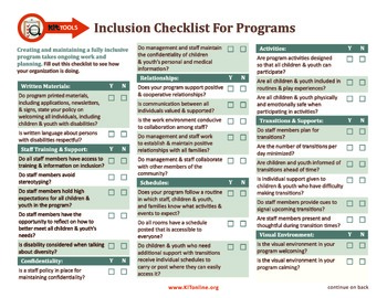 Self Check-Up on Inclusion in Your Program