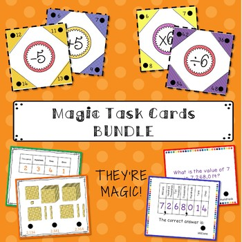Self-Checking Math Fact Task Cards BUNDLE (Adding, Subtrac