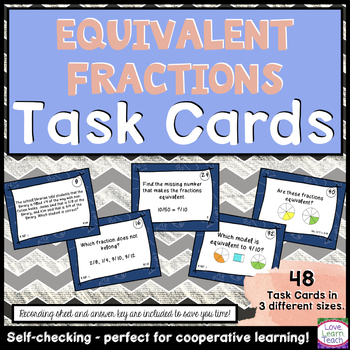 Equivalent Fractions Task Cards - Self-Checking & Common C