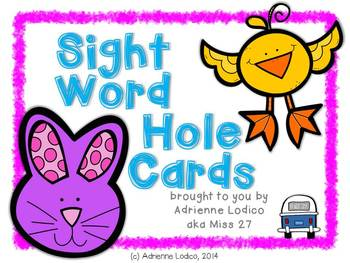 Self-Correcting Sight Word Hole Cards FREE from Fry words