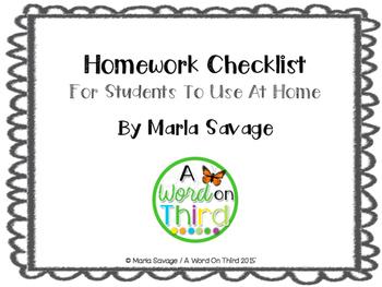 Self-Directed Homework Checklist