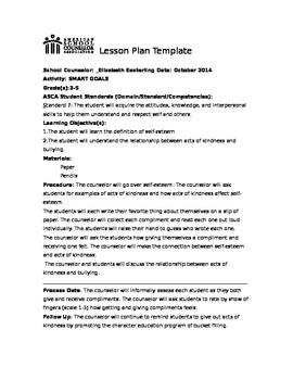 Self-Esteem Classroom Lesson ASCA plan