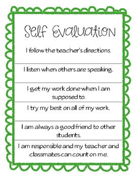 Self Evaluation Checklist