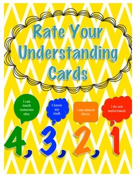 Self-Evaluation to Rate Your Understanding 4,3, 2, 1