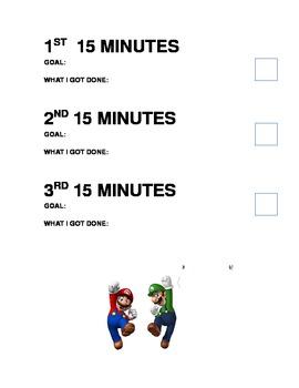 Self Monitoring sheet- Super Mario
