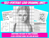 Self Portrait Grid Drawing Unit Face Proportions Lesson Va