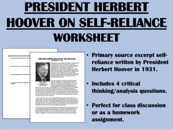 """Self-Reliance"" - Herbert Hoover - Great Depression - USH/APUSH"