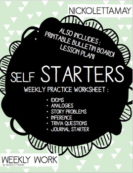 Self Starter Weekly Worksheet for Idiom, Analogy, Journal