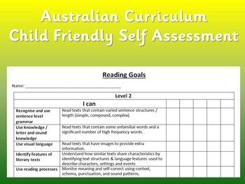 Self assessment checklist for Reading (Australian Curriculum)