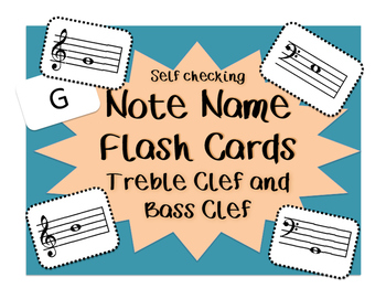 Self-Checking Treble and Bass Clef Note Naming Flash Cards