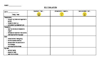 Self-evaluation sheet