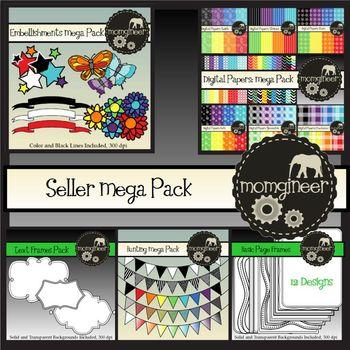 Seller MEGA Pack BUNDLE: Papers, Frames, Embellishments (C