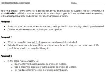 Semester Reflection Essay Project