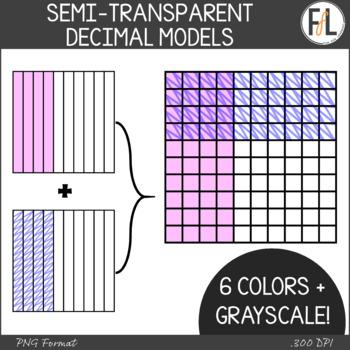 Semi-Transparent Decimal Fraction Models Clipart