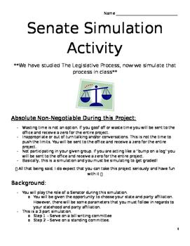 Senate Simulation Activity Packet