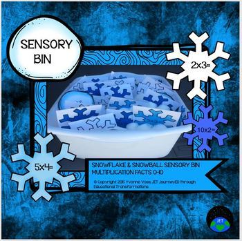 Sensory Bin Snowflake & Snowball Multiplication Facts