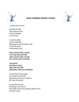 """Sensory Song """"Take A Break"""" Lyrics (to the tune of Let It Go)"""