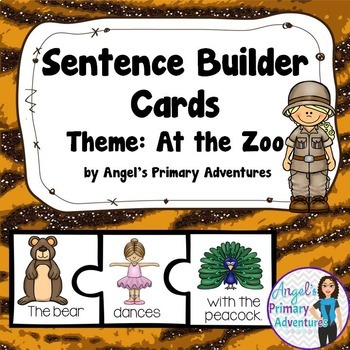 """Sentence Builder Cards: """"At the Zoo"""" Theme"""