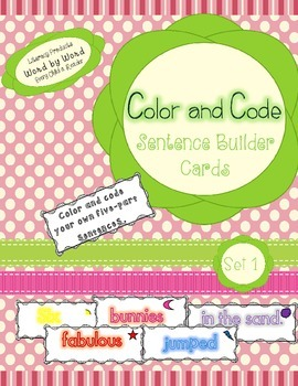 Sentence Builder Word Cards Color and Code