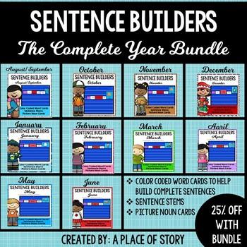 Sentence Builders Pocket Chart Center (YEAR BUNDLE)
