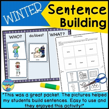 Sentence Building Pictures & WH Questions- Winter! Languag