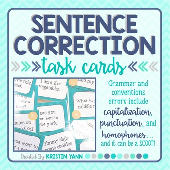 Sentence Correction SCOOT / Grammar & Conventions Task Cards