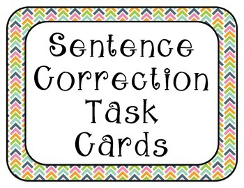 Sentence Correction Task Cards