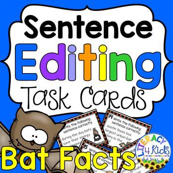Sentence Editing Task Cards for Third Graders (Bat Fact Themed)