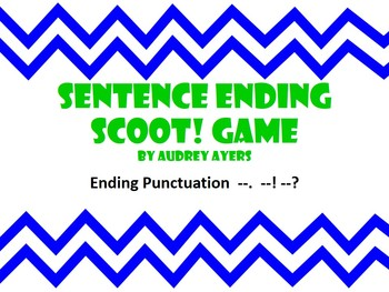 Sentence Ending Punctuation Scoot -Question Mark, Period,