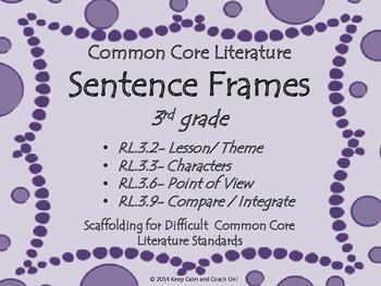 Sentence Frames for Difficult 3rd grade Common Core Litera