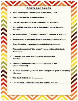 Sentence Leads Anchor Chart