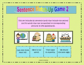 Sentence Match-Up Game 2 (Second 100 Fry words)
