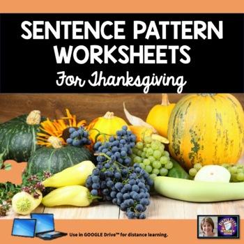 Sentence Patterns Practice for Thanksgiving