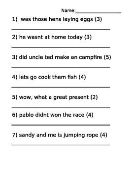 Sentence Practice Sheets