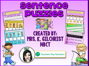 FREE Sentence Puzzles Promethean ActivInspire Flipchart Lesson