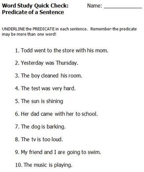 Sentence Quick Check Assessments