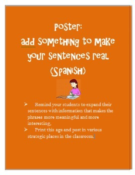 Sentence Scaffolding Poster SPANISH