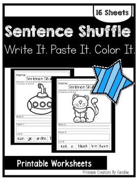 Sentence Scramble. Cut and Paste. Kindergarten/First Grade.