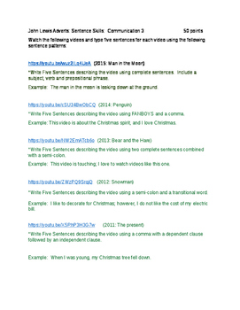 Sentence Skills using John Lewis Holiday Advertisments