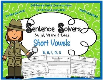 Short Vowels~ Interactive Sentence Building Activity~ Sent