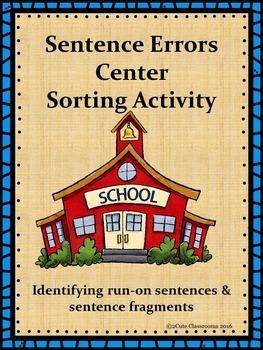 Sentence Errors Sorting Center Activity