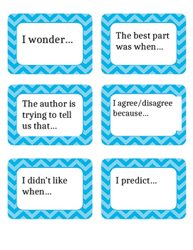 Sentence Starter Cards, Accountable Talk