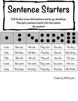 Sentence Starters Activity Board