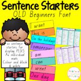 Sentence Starters - QLD Beginners Font