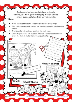 Sentence Starters and Picture Prompts ~ Holiday & School Themes