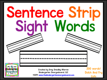 Sentence Strip Sight Words!  200 Sight Word Cards!