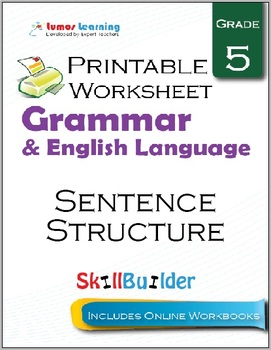Sentence Structure Printable Worksheet, Grade 5