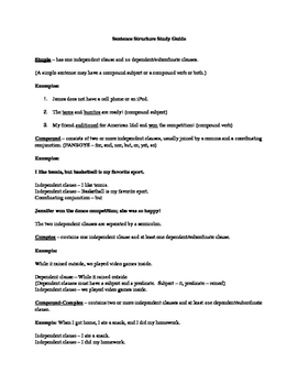 Sentence Structure Study Guide