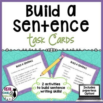 Sentence Building Task Cards