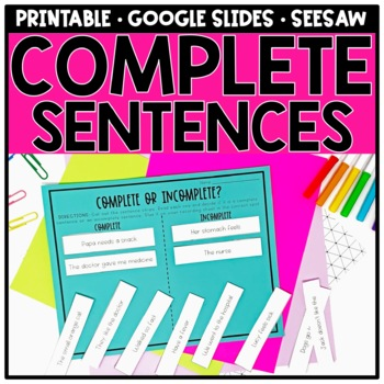 Writing Complete Sentences and Sentence Structure by Simply Creative ...